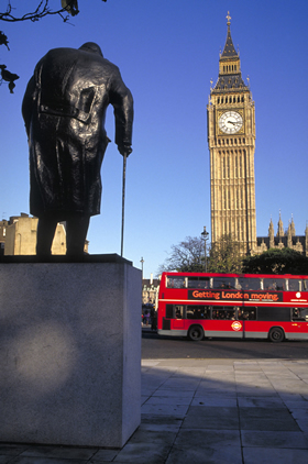 The Churchill statue and Big Ben, Westminster