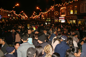 Crowds dispersing after the switching-on of the Diwali lights at Belgrave Gate, in the heart of Leicester's Asian community , Leicester, Leicestershire. Additional Credit Leicestershire PR - Credit - Britainonview - Andy Ward