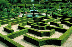 A foot maze and fountain in the landscaped gardens of Hatfield House in Hertfordshire