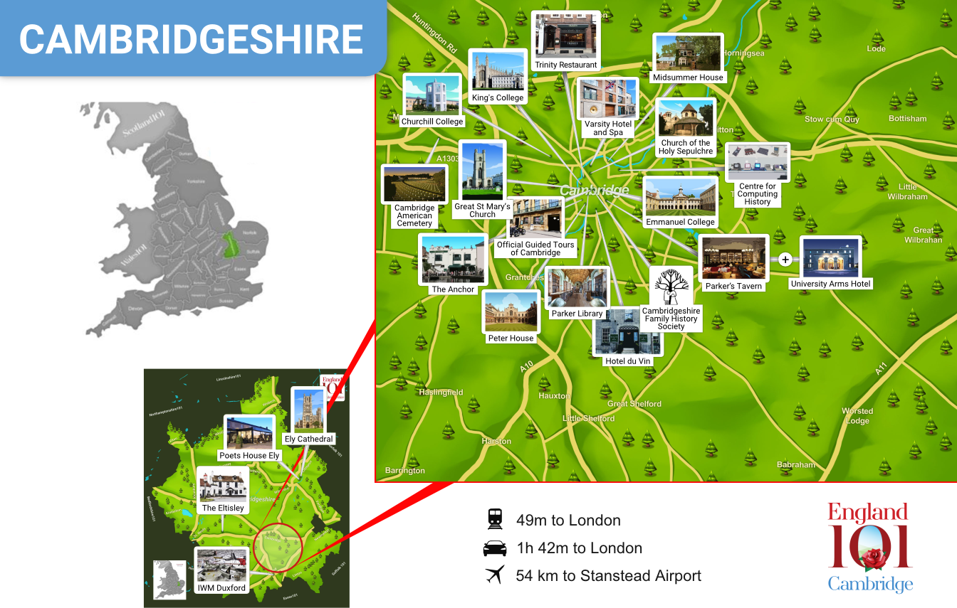 Map of Cambridgeshire, England