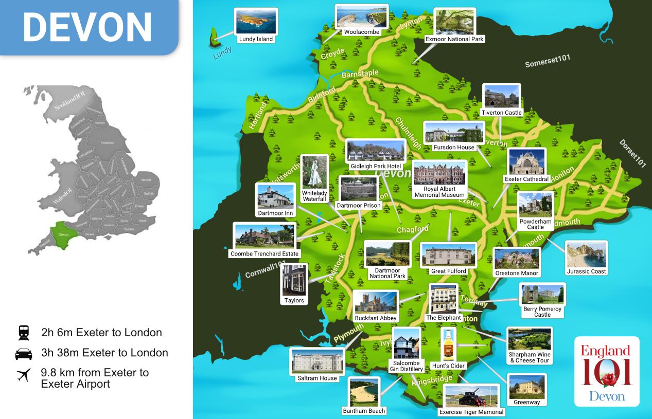 Map of Devon, England