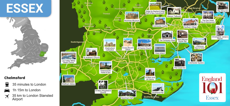 Map of Essex, England