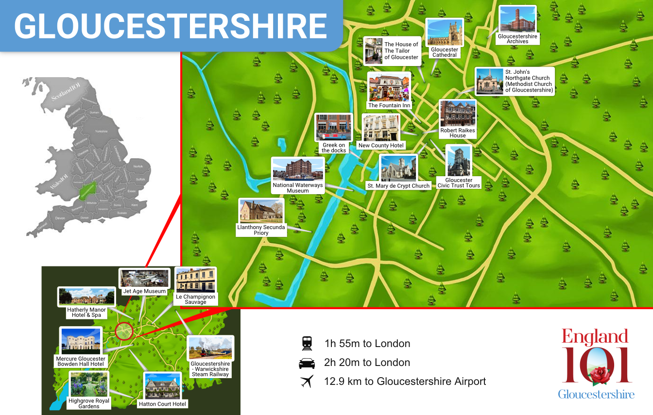 Map of Gloucestershire, England
