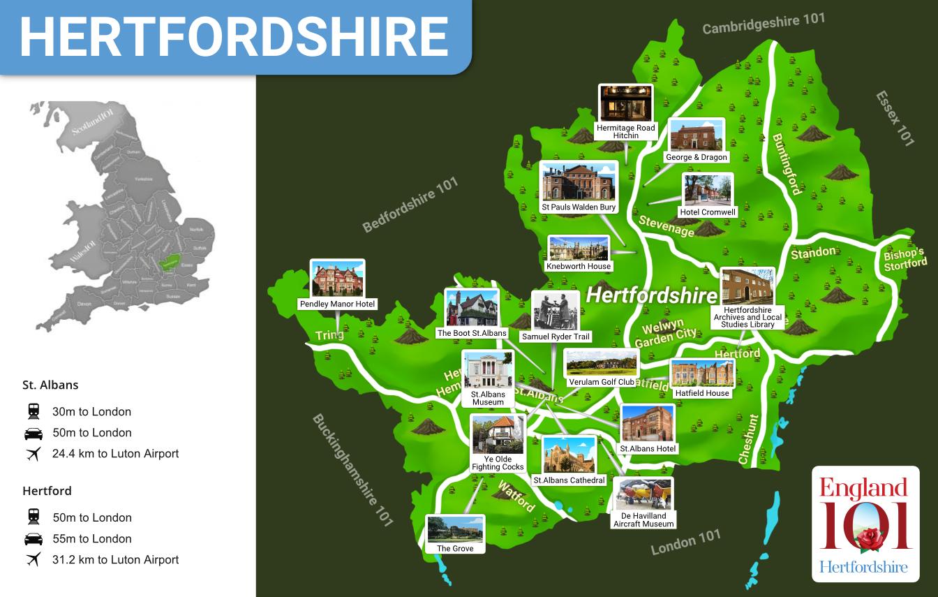 Map of Hertfordshire, England
