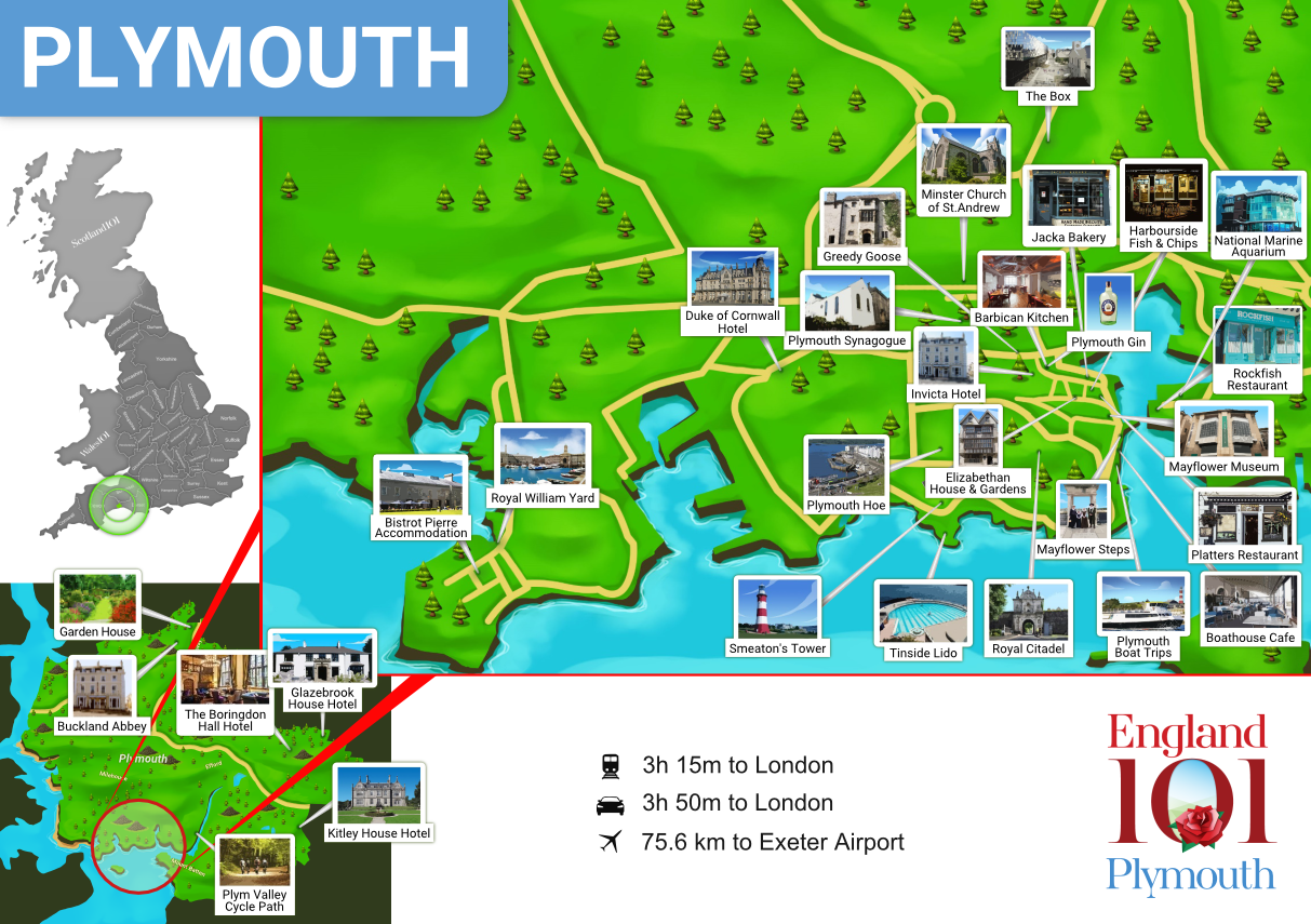 Map of Plymouth, England