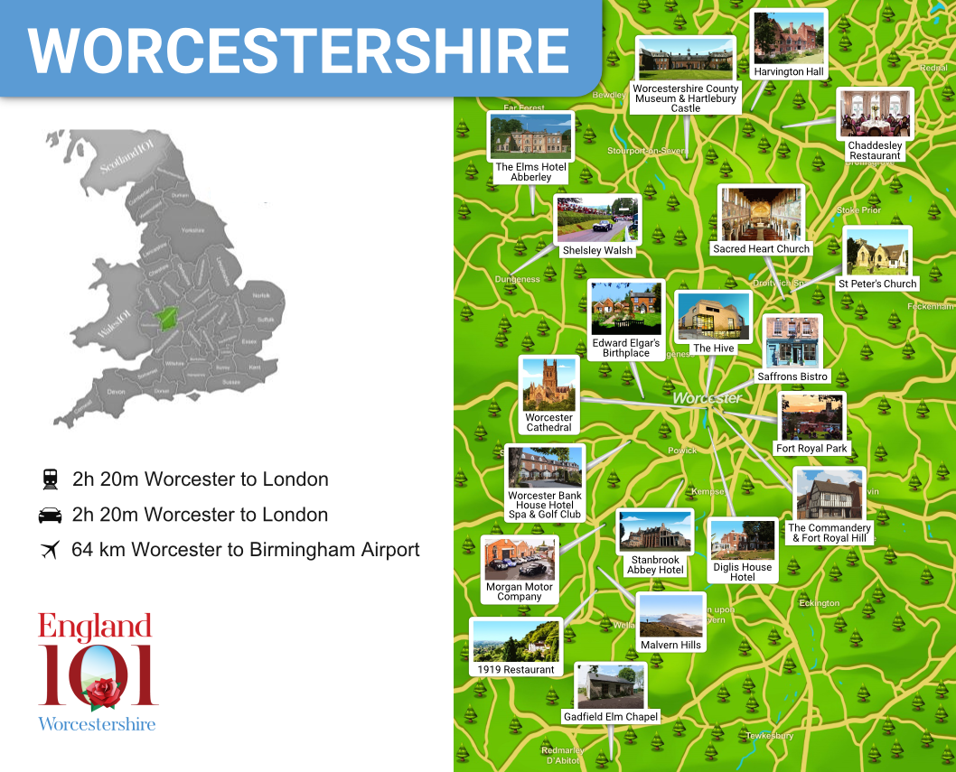 Map of Worcestershire, England